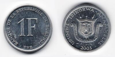 1 франк 2003 года