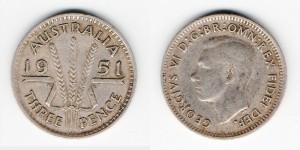 3 пенса 1951 года