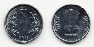1 рупия 2011 года