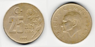 25000 lira 1996
