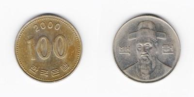 100 вон 2000 года