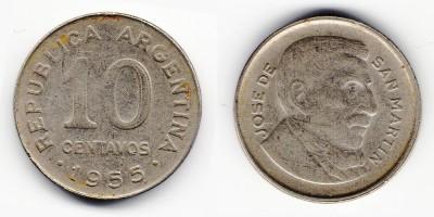 10 сентаво 1955 года