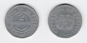 2 боливиано 1991 год