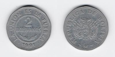 2 bolivianos 1991