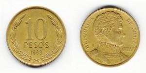 10 песо 1993 года