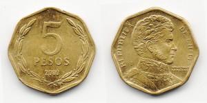 5 песо 2000 года