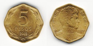 5 песо 2003 года