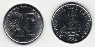 5 guaranies 1986