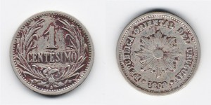 1 сентесимо 1909 года