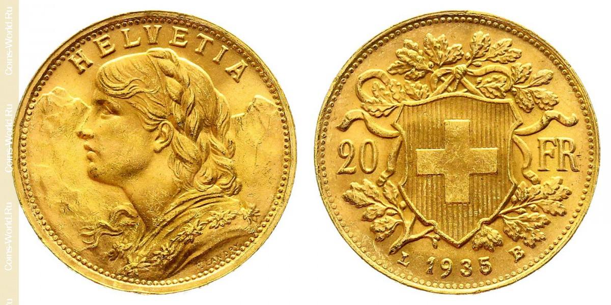 20francs 1935, L, Switzerland
