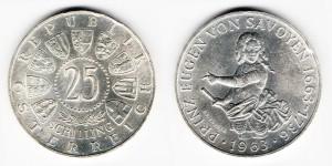 25 шиллингов 1963 года 300-летие со дня рождения принца Евгения Савойского