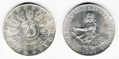 25 schilling 1963, 300th anniversary of the birth of Prince Eugene of Savoy