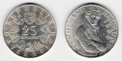 25 schilling 1966 130th anniversary since the death of field Marshal of Austria, Ferdinand Raimund