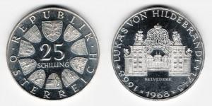 25 шиллингов 1968 года 300-летие со дня рождения Лукаса фон Хильдебранда