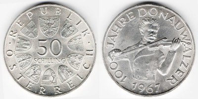 50 schilling 1967, the 100th anniversary of the waltz
