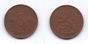 5 пенни 1928 года