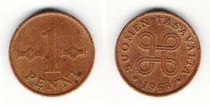 1 пенни 1968 года