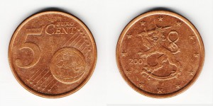 5 евроцентов 2001 года