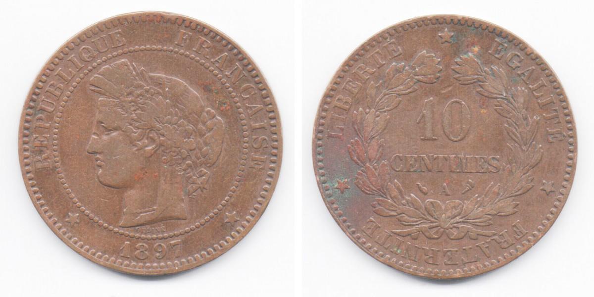 10 сантимов 1897 года Франция