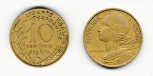 10 сантимов 1968 года