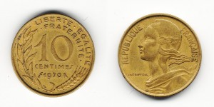 10 сантимов 1970 года