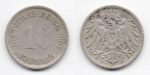 10 пфеннигов 1907 года F