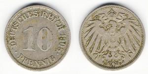 10 пфеннигов 1908 года G