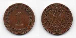 1 пфенниг 1908 года