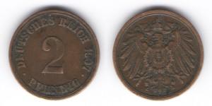 2 пфеннига 1907 года А