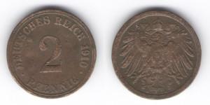 2 пфеннига 1910 года А