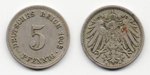 5 пфеннигов 1908 года А