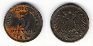 5 пфеннигов 1918 года F