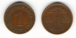 1 рейхспфенниг 1932 года А
