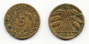 5 рентенпфеннигов 1924 года F