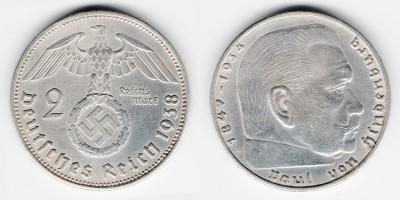 2 рейхсмарки 1938 года А