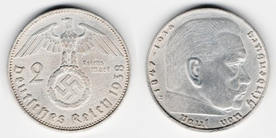 2 рейхсмарки 1938 года Е