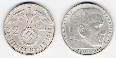 2 reichsmark 1938 F