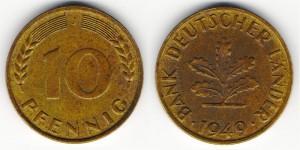 10 пфеннигов 1949 года J