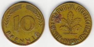 10 пфеннигов 1950 года F