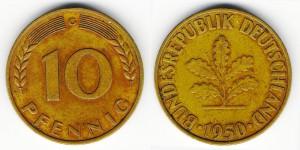 10 пфеннигов 1950 года G