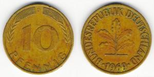 10 пфеннигов 1969 года D
