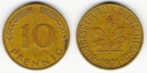 10 пфеннигов 1971 года F