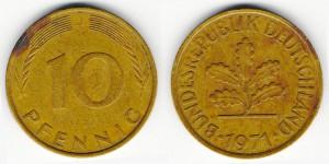 10 пфеннигов 1971 года J