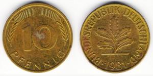 10 пфеннигов 1981 года F
