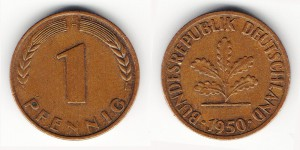 1 пфенниг 1950 года F