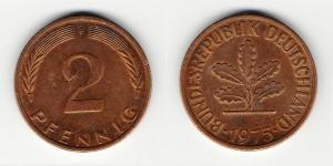2 пфеннига 1975 года F