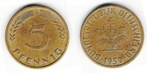5 пфеннингов 1950 года J