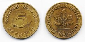 5 пфеннигов 1950 года F