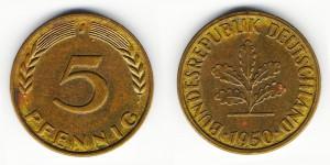 5 пфеннигов 1950 года J