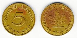 5 пфеннигов 1966 года J